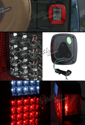 Jeep Wrangler 1987 2006 Red And Smoked Led Tail Lights
