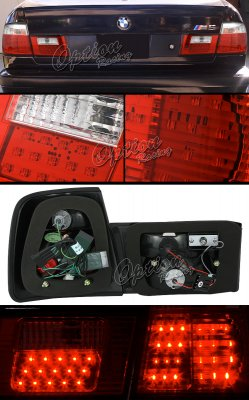 BMW E34 5 Series 1989-1994 Red and Clear LED Tail Lights