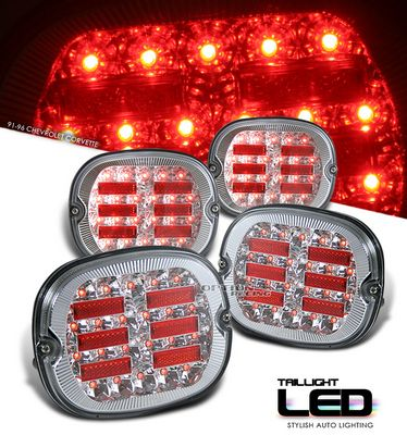 Chevy Corvette 1991-1996 Clear LED Tail Lights