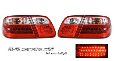 Mercedes Benz E Class 1996-2002 Anzo Red and Clear LED Tail Lights
