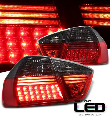 BMW E90 Sedan 3 Series 2005-2007 Red and Smoked LED Tail Lights