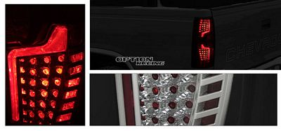 GMC Yukon 2007-2010 Black and Clear LED Look Tail Lights