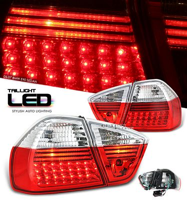 BMW E90 Sedan 3 Series 2005-2007 Red and Clear LED Tail Lights