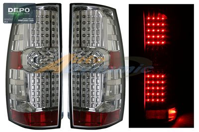 Chevy Suburban 2007-2009 Depo Clear LED Tail Lights