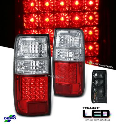 Toyota Land Cruiser 1991-1997 Depo Red and Clear LED Tail Lights