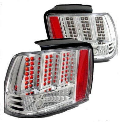 ford mustang 1999 2004 led tail lights chrome. Black Bedroom Furniture Sets. Home Design Ideas