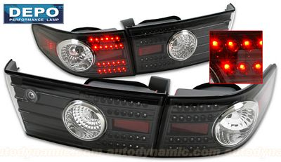Honda Accord Sedan 2003-2005 Depo Black LED Tail Lights