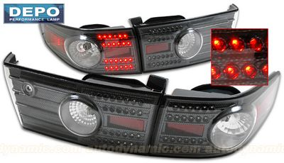 Honda Accord Sedan 2003-2005 Depo Carbon Fiber LED Tail Lights