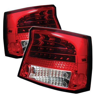 Dodge Charger 2006-2008 Red and Clear LED Tail Lights