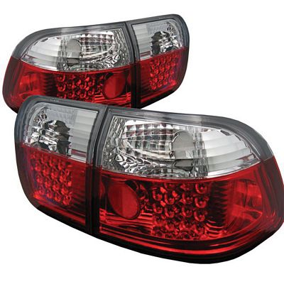 Honda Civic Sedan 1996-1998 Red and Clear LED Tail Lights
