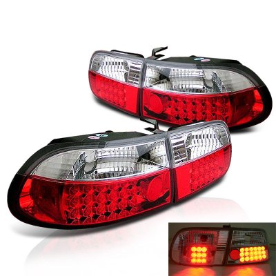Honda Civic Hatchback 1992 1995 Red And Clear LED Tail Lights
