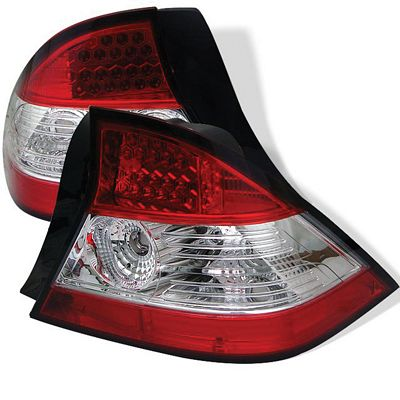 Honda Civic Coupe 2004-2005 Red and Clear LED Tail Lights