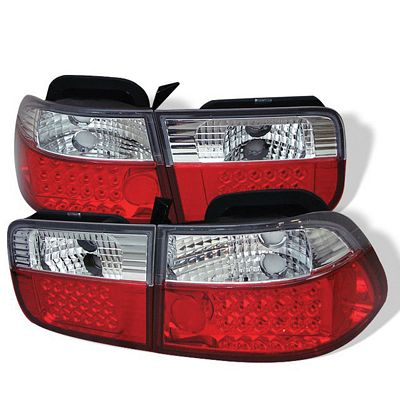 Honda Civic Coupe 1996-2000 Red and Clear LED Tail Lights