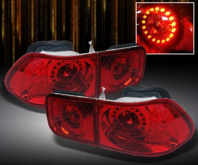 Honda Civic Coupe 1996 2000 Red Led Tail Lights
