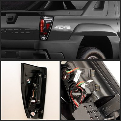chevy avalanche 2002 2006 black led tail lights a1038750109 topgearautosport. Black Bedroom Furniture Sets. Home Design Ideas