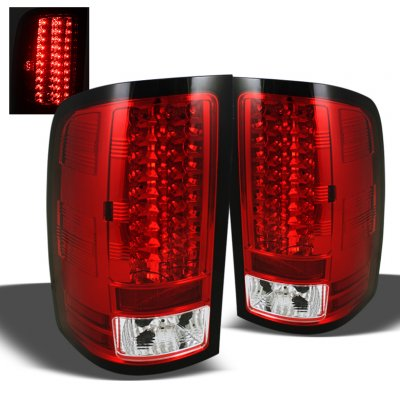 Gmc Sierra 2007 2013 Red And Clear Led Tail Lights