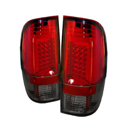 Ford F250 Super Duty 2008-2012 Red and Smoked LED Tail Lights