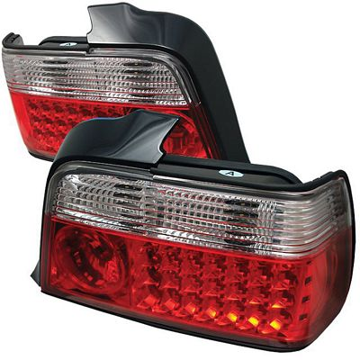 BMW E36 Sedan 3 Series 1992-1998 Red and Clear LED Tail Lights