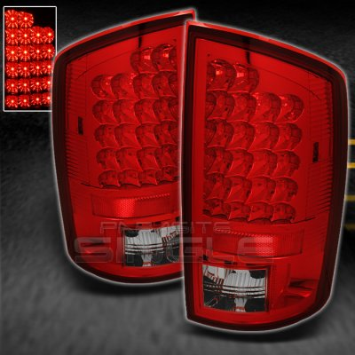 Dodge Ram 2002-2006 Red and Clear LED Tail Lights
