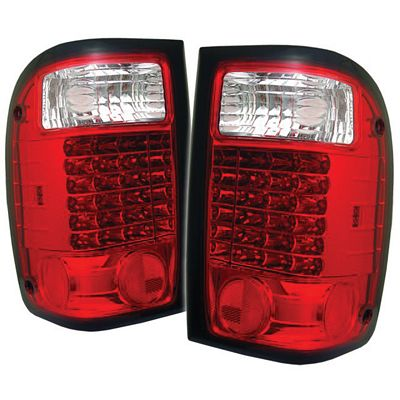 Ford Ranger 2001-2005 Red and Clear LED Tail Lights