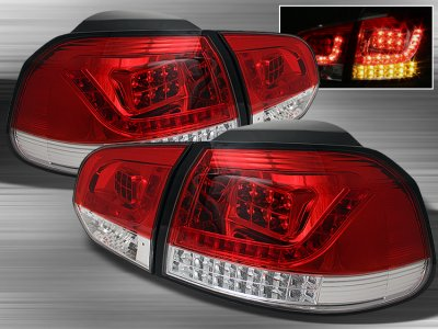 VW Golf 2010-2012 Red and Clear LED Tail Lights