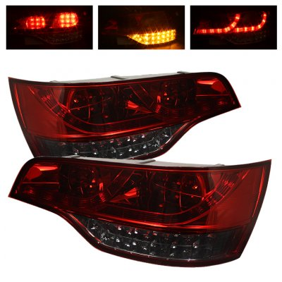 Audi Q7 2007-2009 Red and Smoked LED Tail Lights