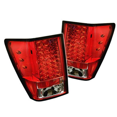 Jeep Grand Cherokee 2005-2006 Red and Clear LED Tail Lights