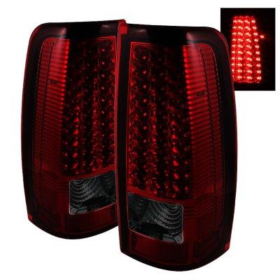 Chevy Silverado 1999-2002 Red and Smoked LED Tail Lights