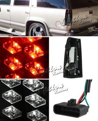Chevy 2500 Pickup 1988-1998 Black LED Tail Lights