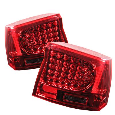 Dodge Charger 2006-2008 Red and Smoked LED Tail Lights