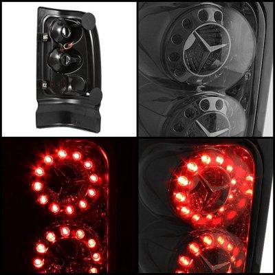 dodge ram 3500 1994 2002 smoked ring led tail lights. Black Bedroom Furniture Sets. Home Design Ideas