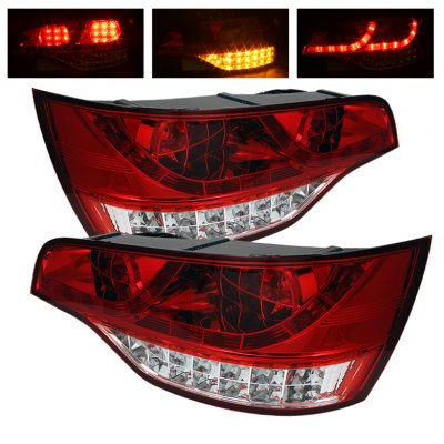 Audi Q7 2007-2009 Red and Clear LED Tail Lights