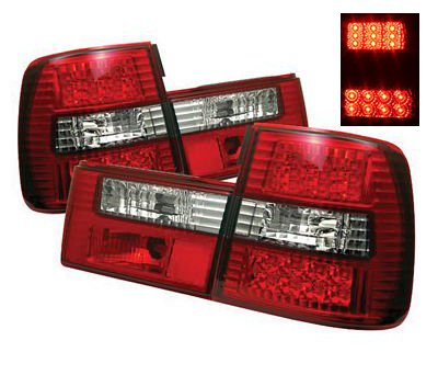 BMW E34 5 Series 1988-1995 Red and Clear LED Tail Lights