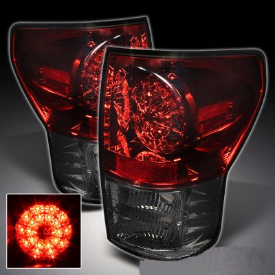 Toyota Tundra 2007-2013 Red and Smoked Ring LED Tail Lights