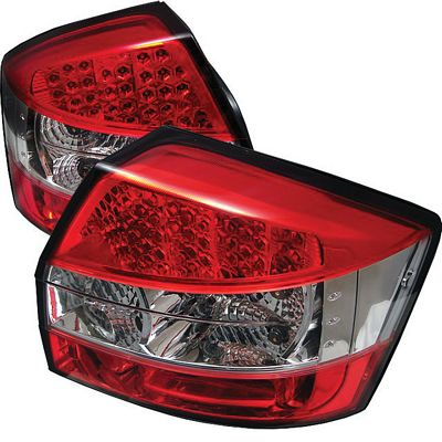 Audi A4 2002-2005 Red and Clear LED Tail Lights
