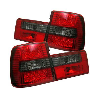 BMW E34 5 Series 1988-1995 Red and Smoked LED Tail Lights
