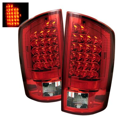 Dodge Ram 2007-2008 Red and Clear LED Tail Lights
