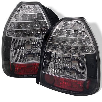 Honda Civic Hatchback 1996 2000 Black Led Tail Lights