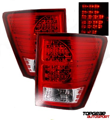 Jeep Grand Cherokee 2007 2009 Red And Clear Led Tail