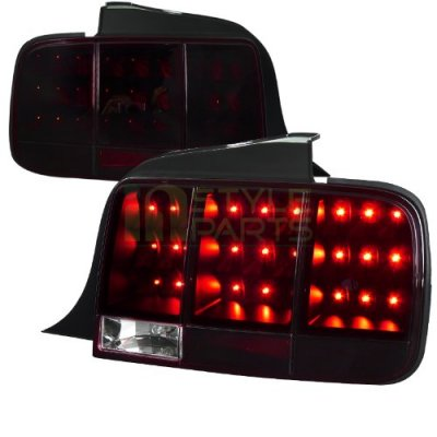 Ford Mustang 2005-2009 Red Smoked LED Tail Lights Sequential