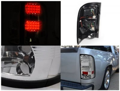 GMC Sierra 2007-2013 Clear LED Tail Lights