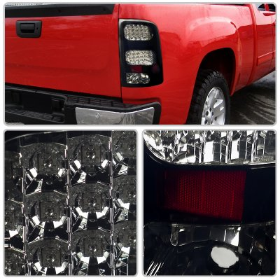 Gmc Sierra Denali 2008 2013 Black Smoked Led Tail Lights