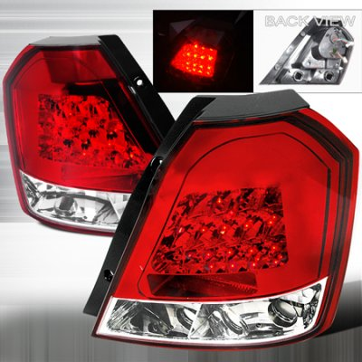 Chevy Aveo Hatchback 2004-2008 Red and Clear LED Tail Lights