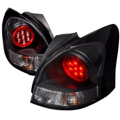 Toyota Yaris Hatchback 2007 2008 Black Led Tail Lights
