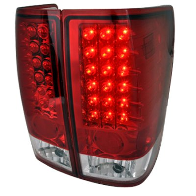 Nissan Titan 2004-2012 Red and Clear LED Tail Lights