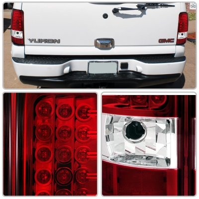 Chevy Tahoe 2000 2006 Red And Clear Led Tail Lights