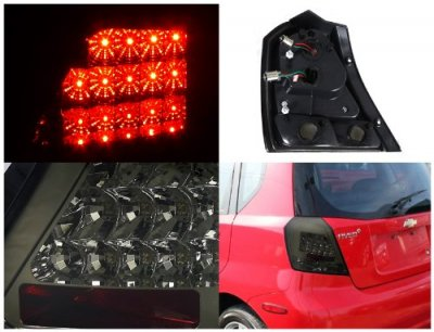Chevy Aveo Hatchback 2004-2008 Smoked LED Tail Lights