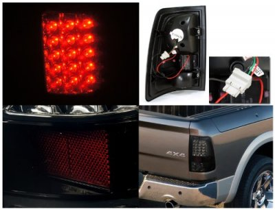 Dodge Ram 2009-2015 Black Smoked LED Tail Lights