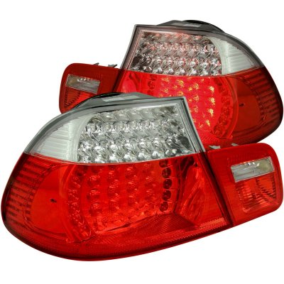 BMW 3 Series Coupe 2000-2003 Red and Clear LED Tail Lights
