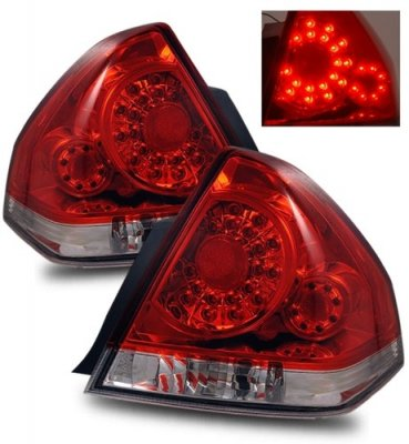 Chevy Impala 2006-2013 Red and Clear LED Tail Lights